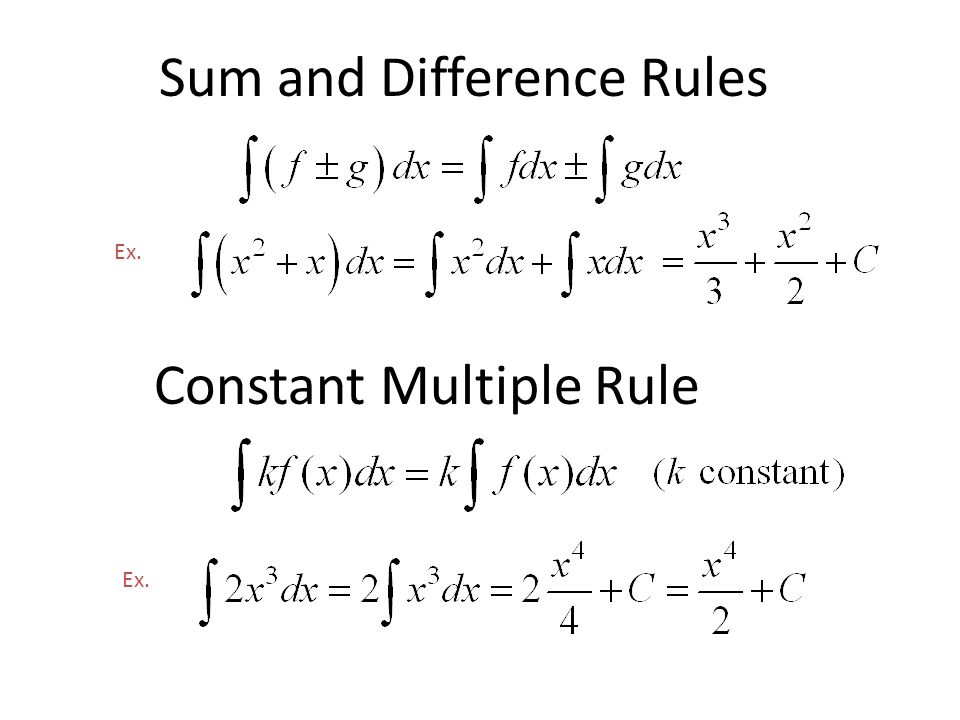 Sum and Difference Rules Ex. Constant Multiple Rule Ex.