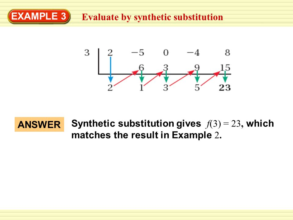 EXAMPLE 3 Evaluate by synthetic substitution Use synthetic ...