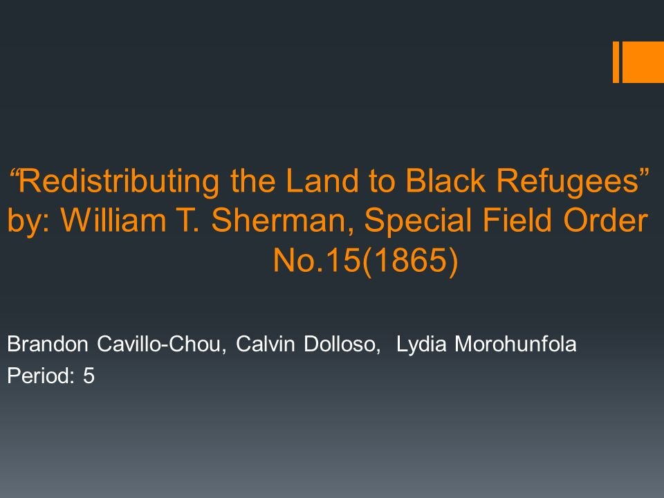 Redistributing The Land To Black Refugees By William T Sherman