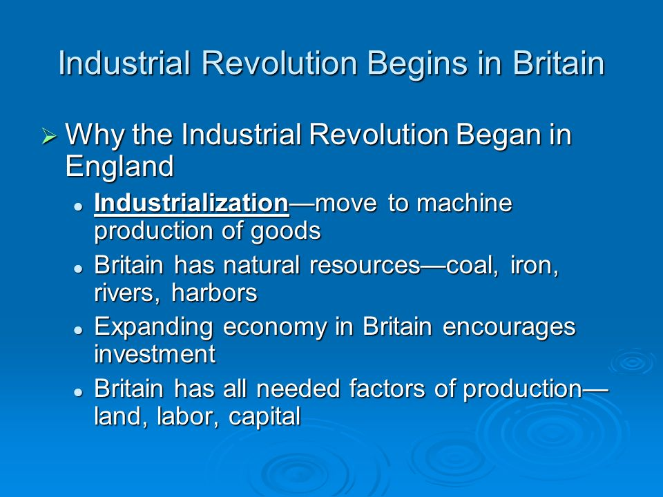 why did the industrial revolution began in england dbq essay Dbq: start of the industrial revolution there were many reasons why the industrial revolution began in england this excerpt is from the industrial and.