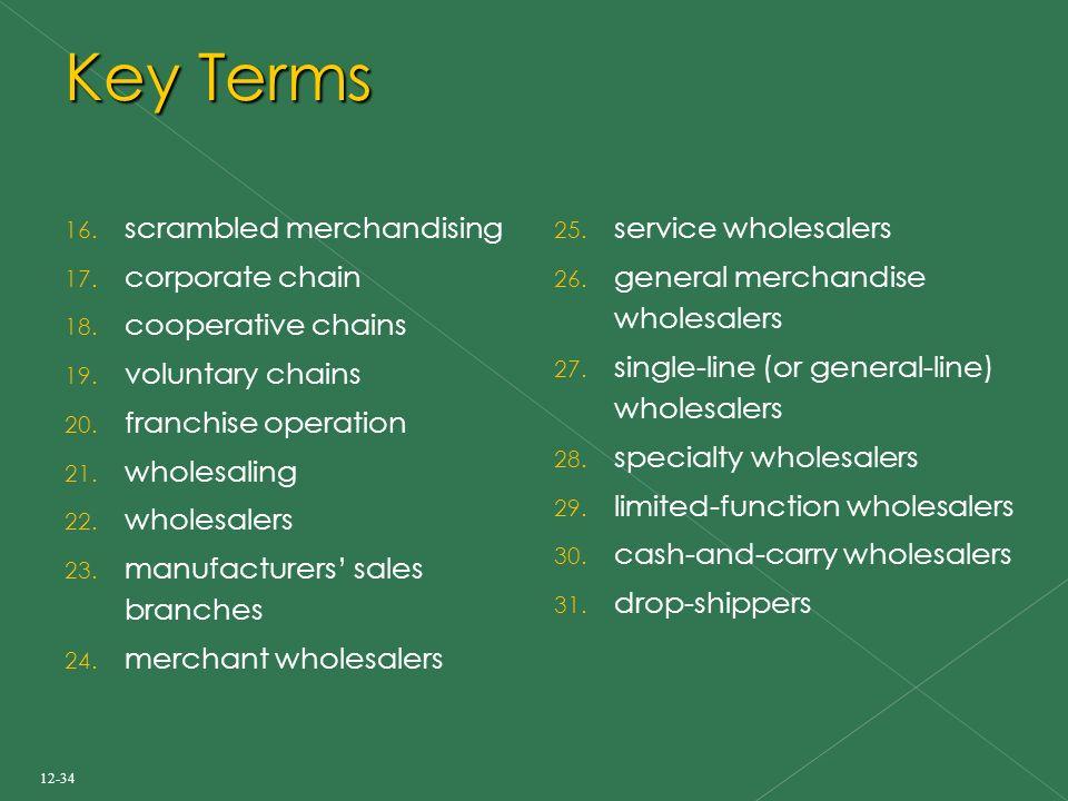 Key Terms 16. scrambled merchandising 17. corporate chain 18.