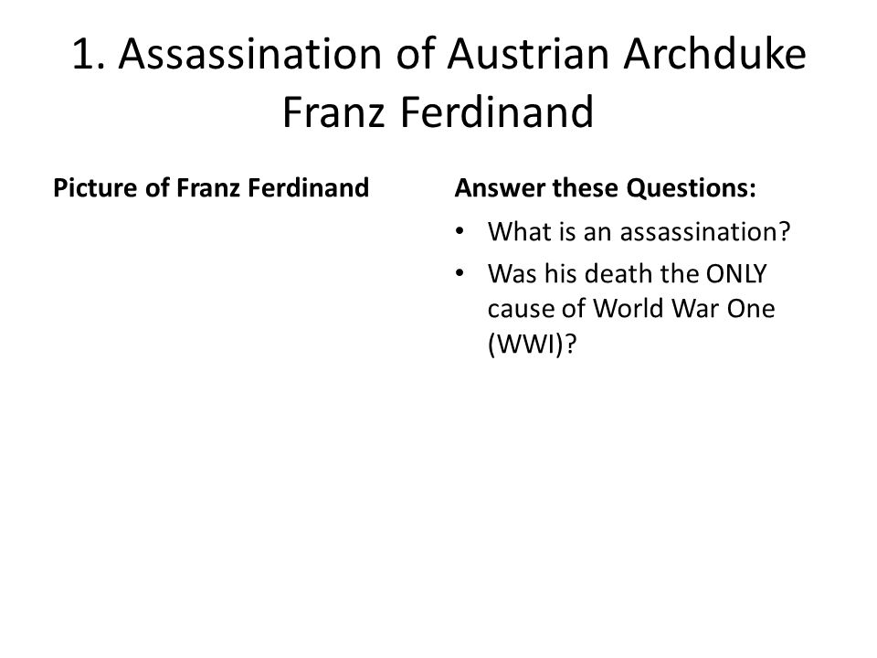 causes of world war i 3 The causes of world war 1 the 3 main things that caused ww1 were: the assasination of archduke ferdinand the rise of nationalism the building up of the military and aliances.