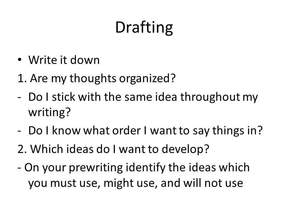 drafting writing Rewriting the final draft the final draft is what you will submit as your completed paper if you are writing an examination, the final draft may be your handwritten answers after you have had a chance to quickly read them over and make corrections.
