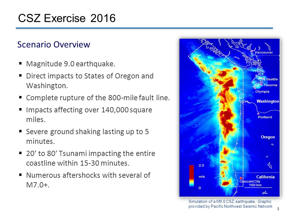 3  Magnitude 9.0 earthquake.  Direct impacts to States of Oregon and Washington.