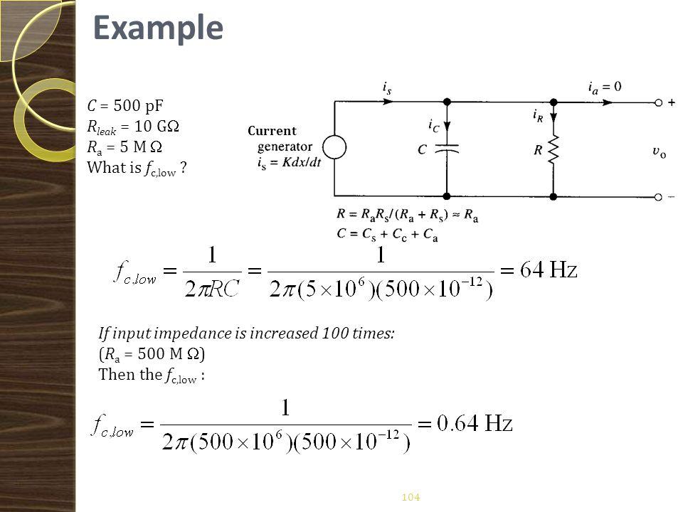 Example A piezoelectric sensor has C = 500 pF. Sensor leakage resistanse is 10 GΩ.