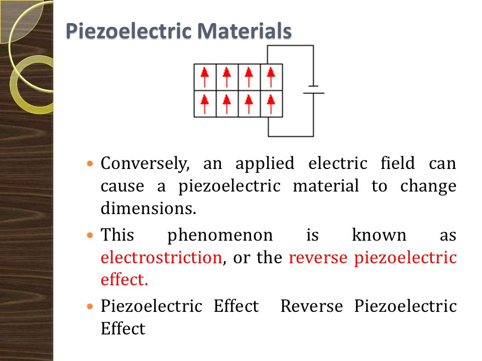 Piezoelectric Materials Furthermore, a permanently-polarized material such as quartz (SiO2) or barium titanate (BaTiO3) will produce an electric field when the material changes dimensions as a result of an imposed mechanical force.