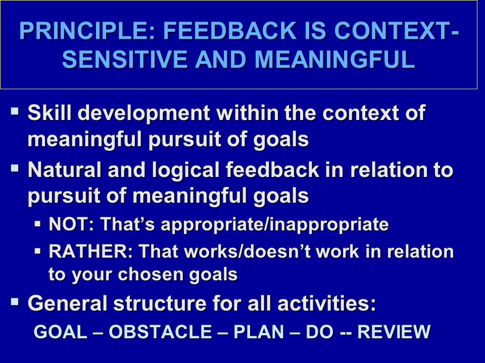 PRINCIPLE: FEEDBACK IS CONTEXT- SENSITIVE AND MEANINGFUL  Skill development within the context of meaningful pursuit of goals  Natural and logical feedback in relation to pursuit of meaningful goals  NOT: That's appropriate/inappropriate  RATHER: That works/doesn't work in relation to your chosen goals  General structure for all activities: GOAL – OBSTACLE – PLAN – DO -- REVIEW