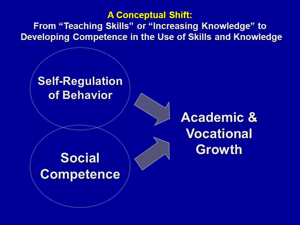 SocialCompetence Self-Regulation of Behavior Academic & VocationalGrowth A Conceptual Shift: From Teaching Skills or Increasing Knowledge to Developing Competence in the Use of Skills and Knowledge