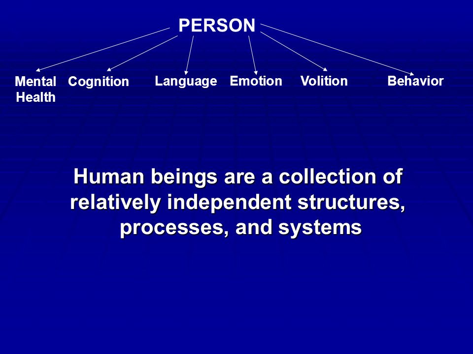 PERSON Mental Health Cognition LanguageEmotionVolitionBehavior Human beings are a collection of relatively independent structures, processes, and systems