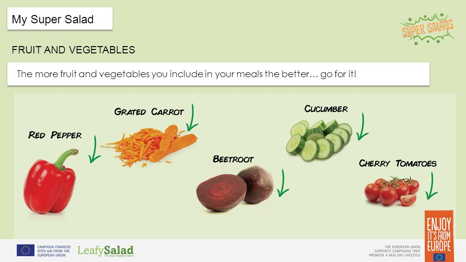 t t My Super Salad FRUIT AND VEGETABLES t t The more fruit and vegetables you include in your meals the better… go for it!
