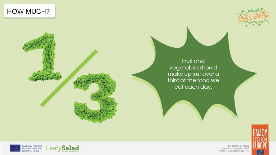 t t HOW MUCH Fruit and vegetables should make up just over a third of the food we eat each day.