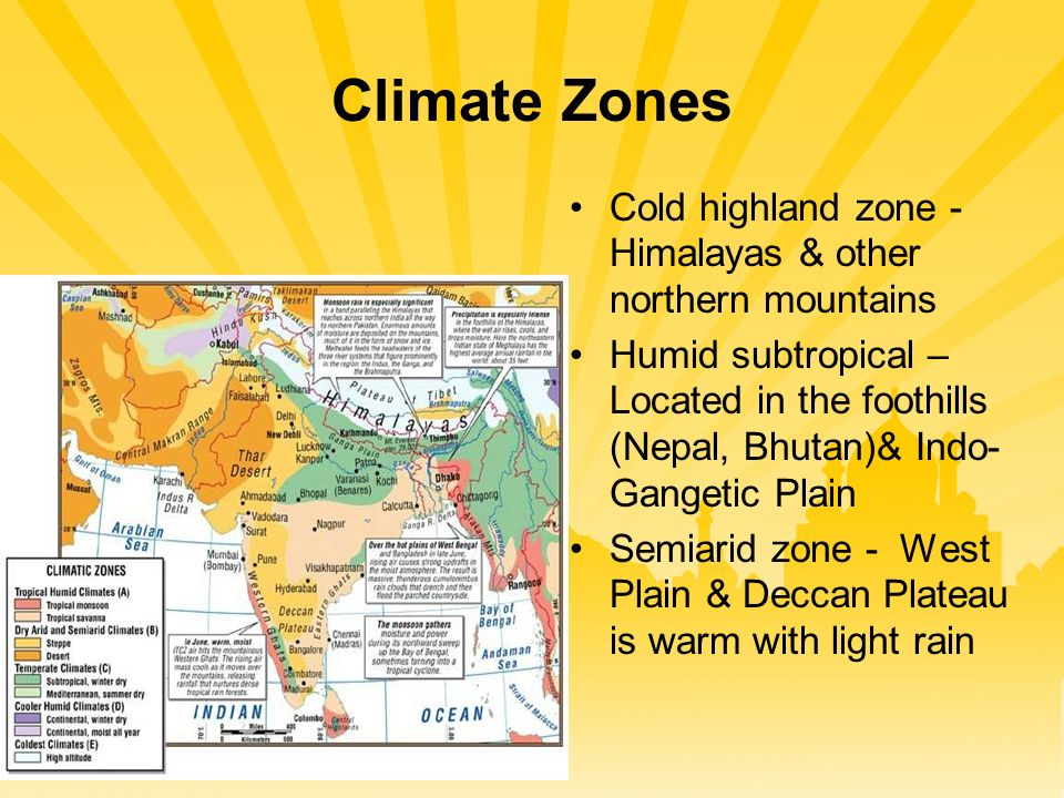Climate Zones Cold highland zone - Himalayas & other northern mountains Humid subtropical – Located in the foothills (Nepal, Bhutan)& Indo- Gangetic Plain Semiarid zone - West Plain & Deccan Plateau is warm with light rain