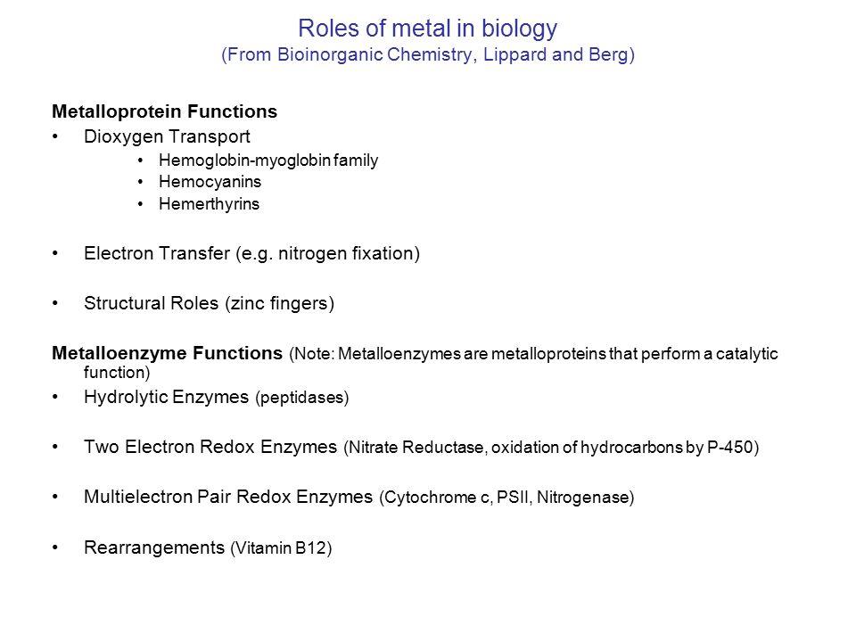 Roles of metal in biology (From Bioinorganic Chemistry, Lippard and Berg) Metalloprotein Functions Dioxygen Transport Hemoglobin-myoglobin family Hemocyanins Hemerthyrins Electron Transfer (e.g.