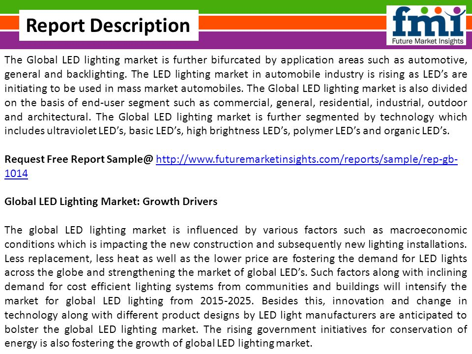 The Global LED lighting market is further bifurcated by application areas such as automotive general  sc 1 st  SlidePlayer & Global LED Lighting Market Share Global Trends Analysis ... azcodes.com