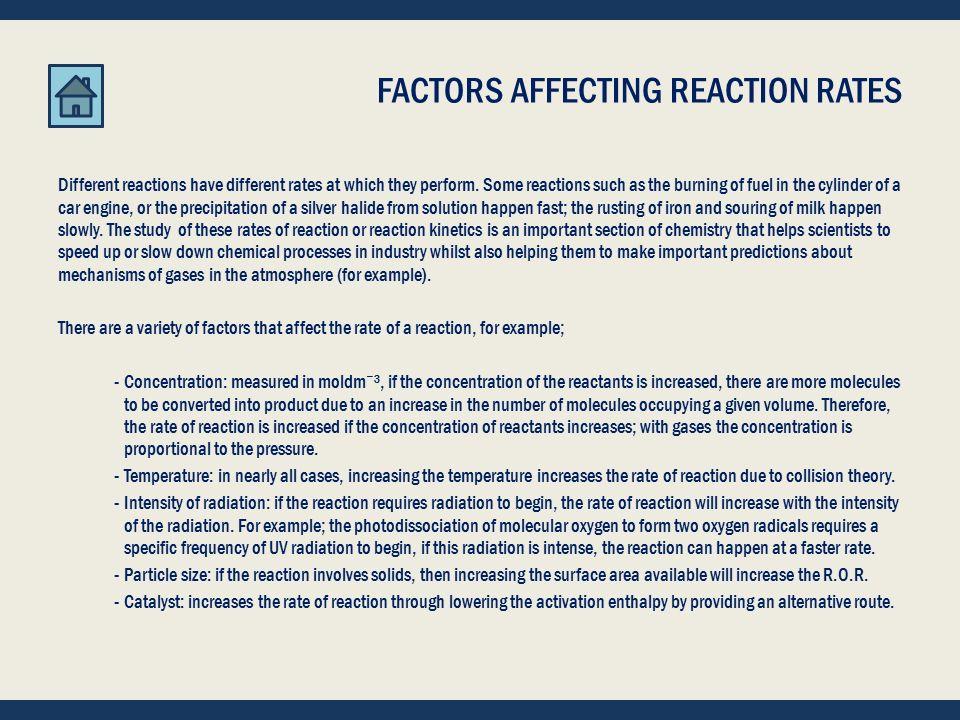 START -- REACTION KINETICS REACTION KINETICS CHEMICAL IDEAS 10.1, 10.2, 10.5 AND 10.6