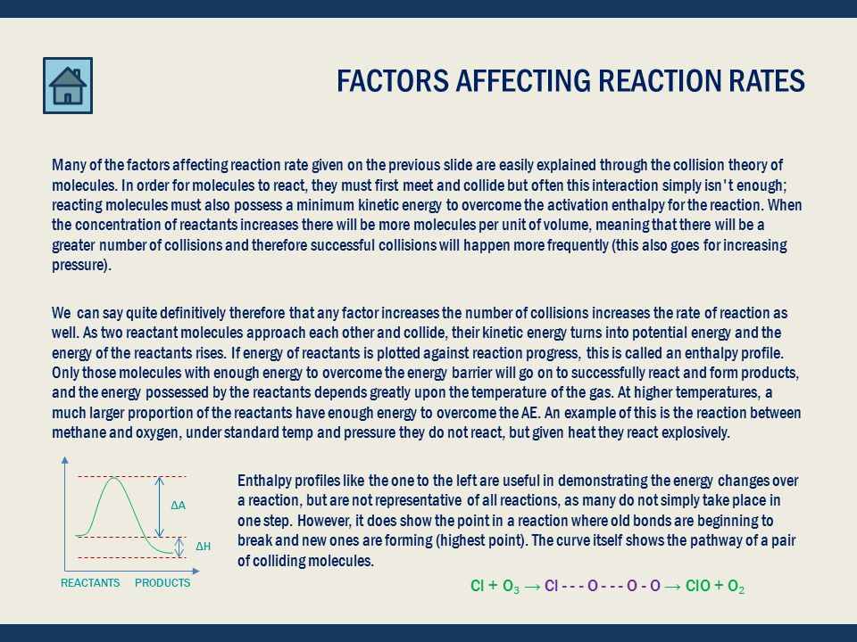 FACTORS AFFECTING REACTION RATES Different reactions have different rates at which they perform.