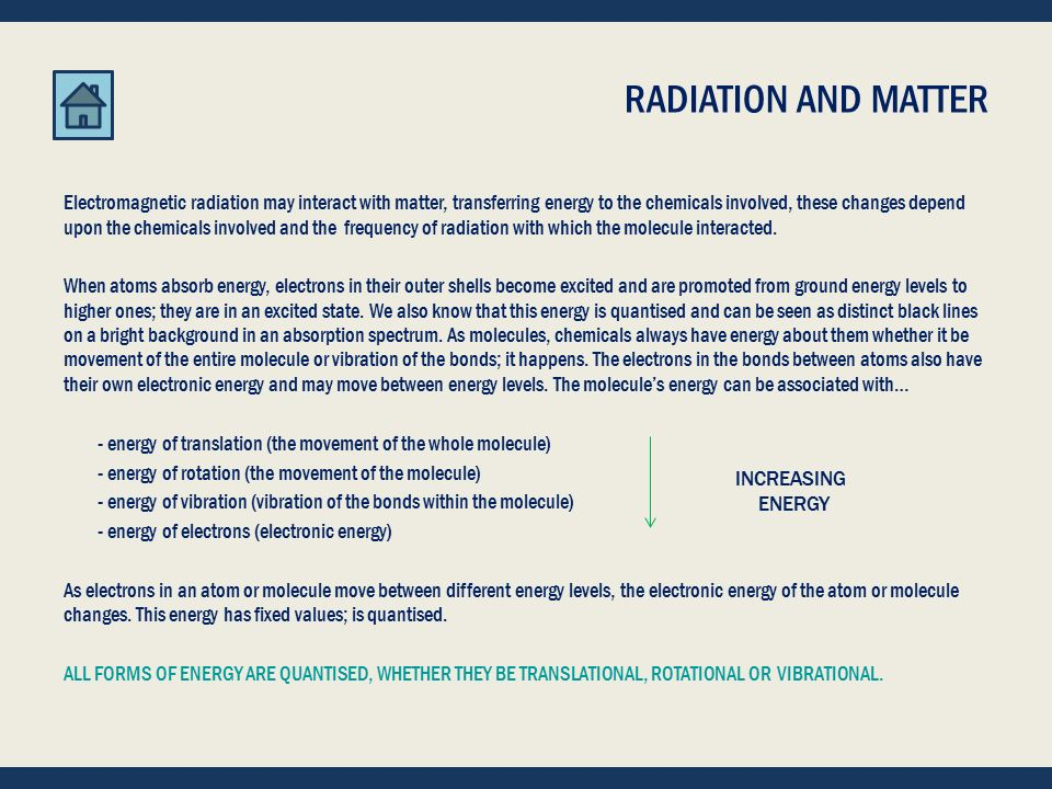 START -- RADIATION AND MATTER RADIATION AND MATTER CHEMICAL IDEAS 6.2 AND 6.3