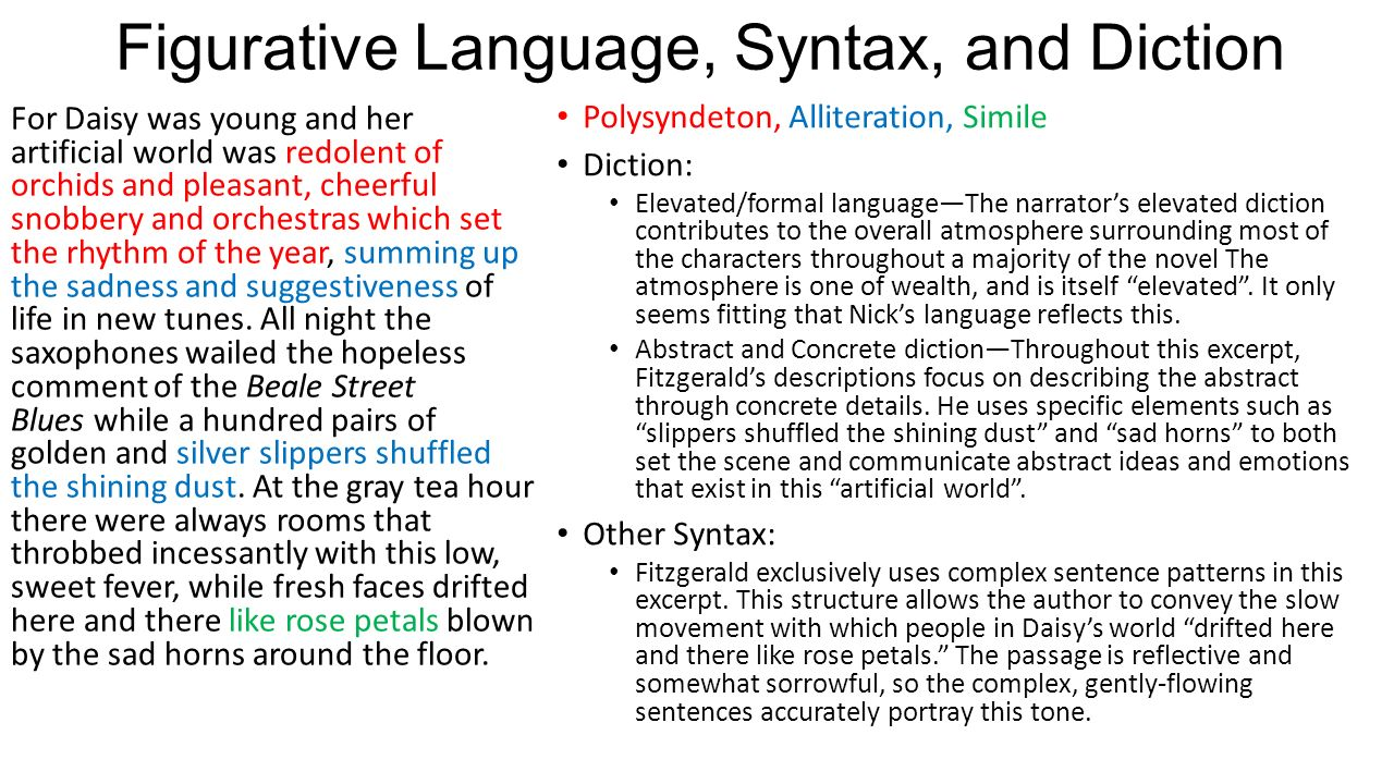 syntax analysis great gatsby
