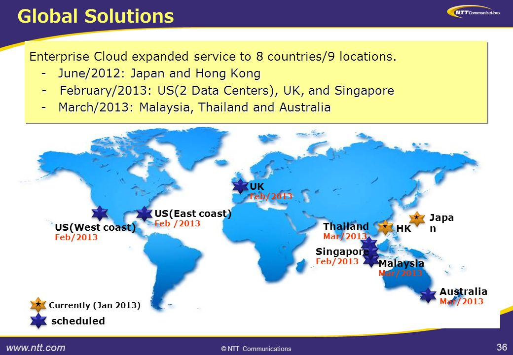 36 © NTT Communications 36 Enterprise Cloud expanded service to 8 countries/9 locations.