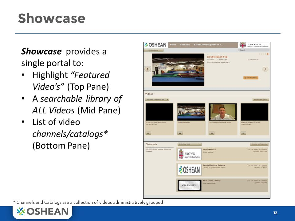 Showcase 12 Showcase provides a single portal to: Highlight Featured Video's (Top Pane) A searchable library of ALL Videos (Mid Pane) List of video channels/catalogs* (Bottom Pane) * Channels and Catalogs are a collection of videos administratively grouped