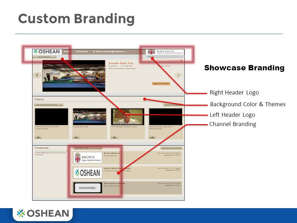 Custom Branding 13 Showcase Branding Right Header Logo Left Header Logo Channel Branding Background Color & Themes