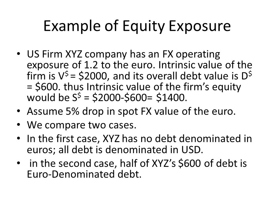 Example of Equity Exposure US Firm XYZ company has an FX operating exposure of 1.2 to the euro.
