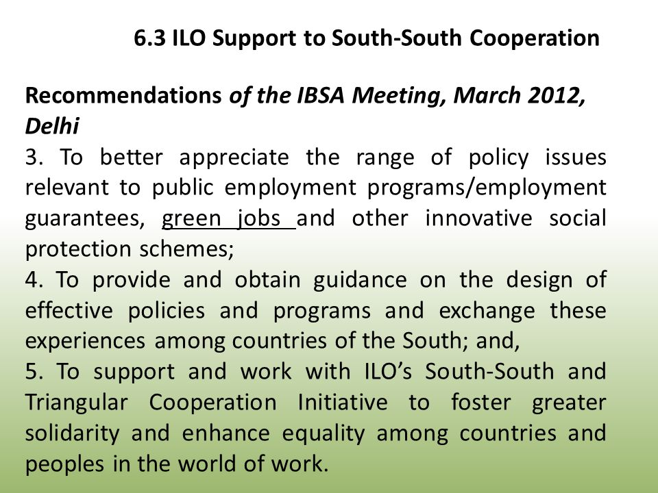 Recommendations of the IBSA Meeting, March 2012, Delhi 3.