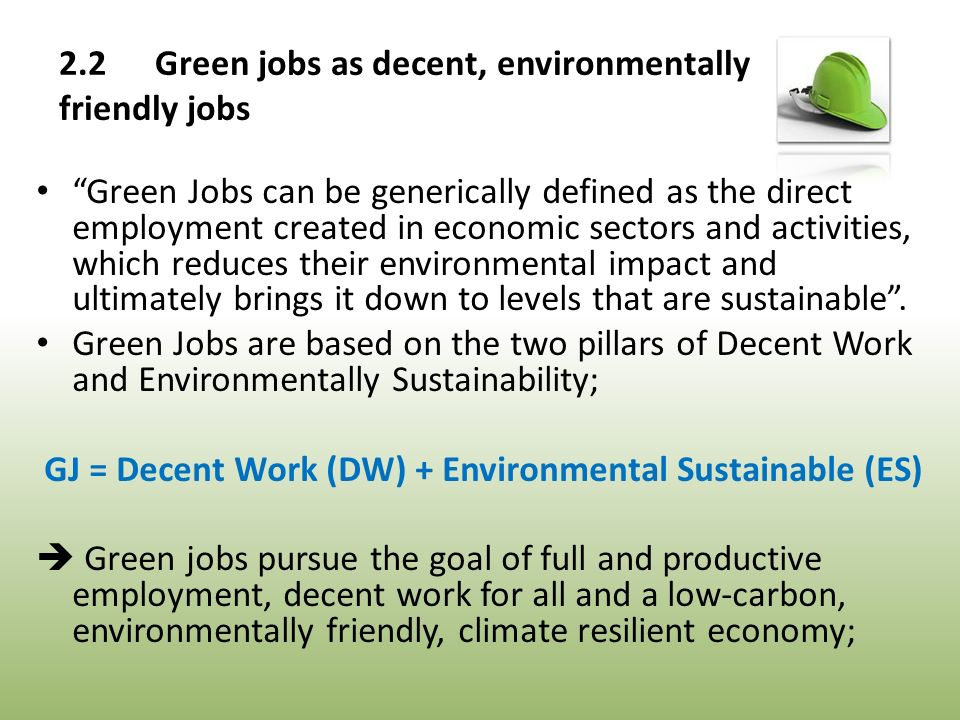 Green Jobs can be generically defined as the direct employment created in economic sectors and activities, which reduces their environmental impact and ultimately brings it down to levels that are sustainable .