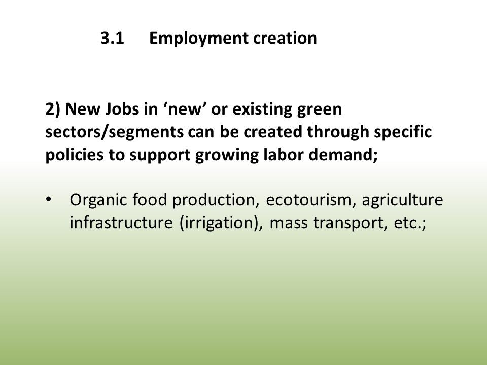 2) New Jobs in 'new' or existing green sectors/segments can be created through specific policies to support growing labor demand; Organic food production, ecotourism, agriculture infrastructure (irrigation), mass transport, etc.; 3.1Employment creation