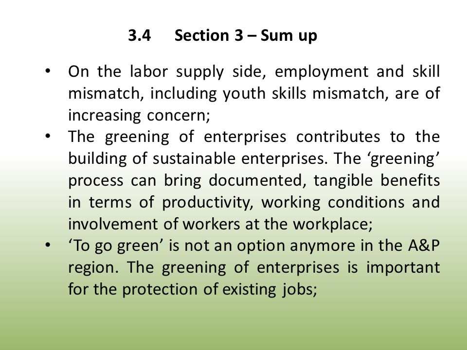 3.4Section 3 – Sum up On the labor supply side, employment and skill mismatch, including youth skills mismatch, are of increasing concern; The greening of enterprises contributes to the building of sustainable enterprises.