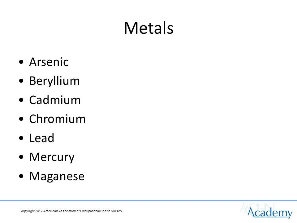 Metals Arsenic Beryllium Cadmium Chromium Lead Mercury Maganese Copyright 2012 American Association of Occupational Health Nurses