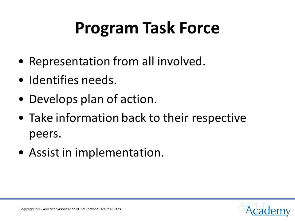 Program Task Force Representation from all involved.