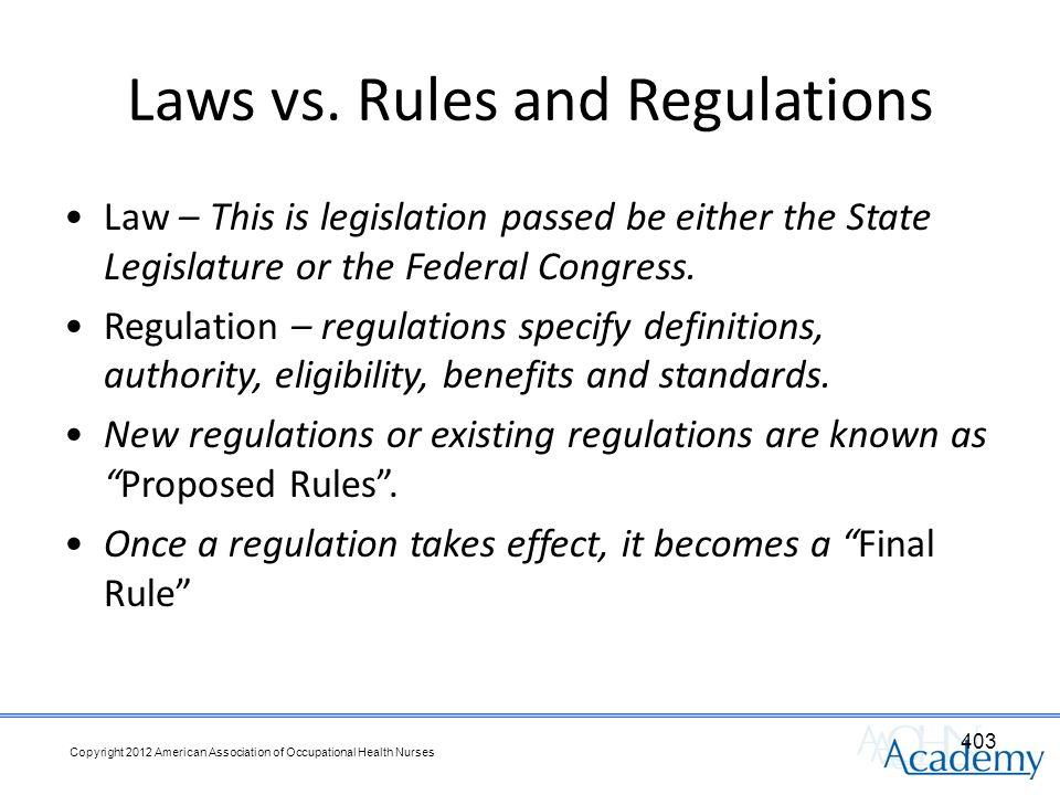 Laws vs.