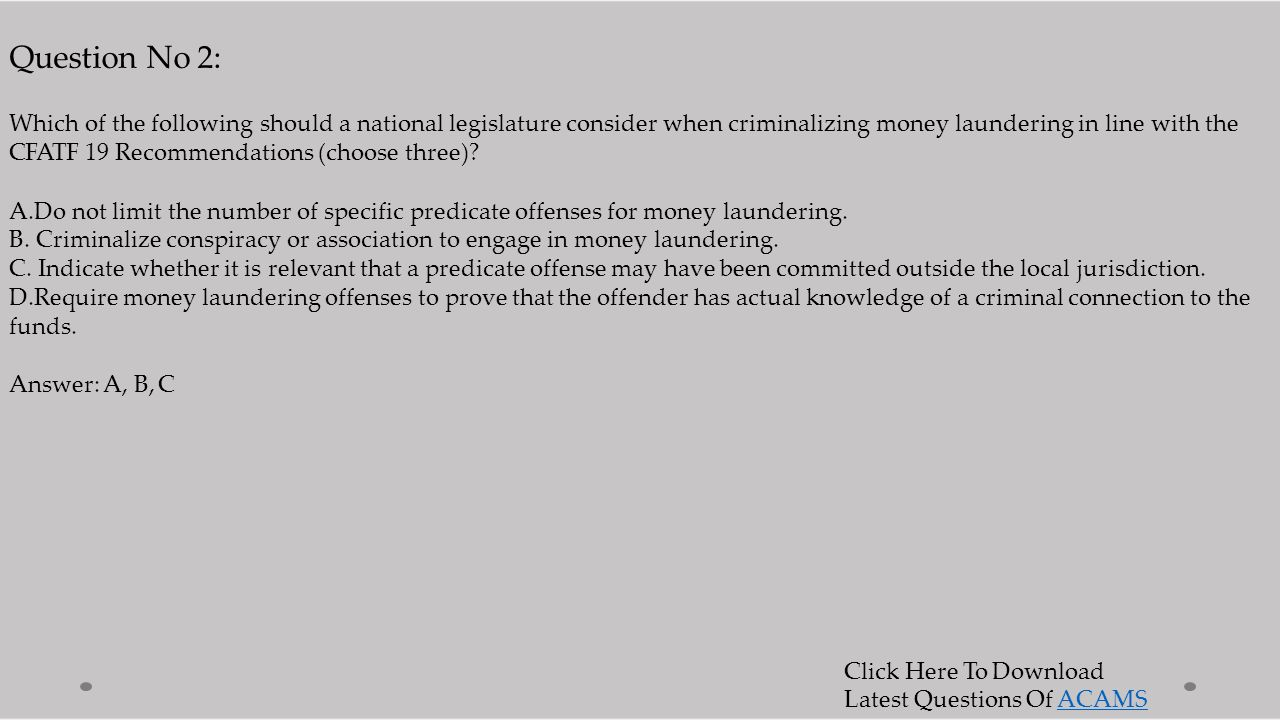 Acams cams certified anti money laundering specialists ppt 7 question 1betcityfo Choice Image