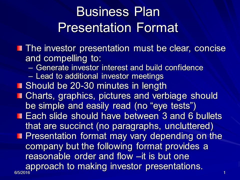 Business Plan Presentation Format The Investor