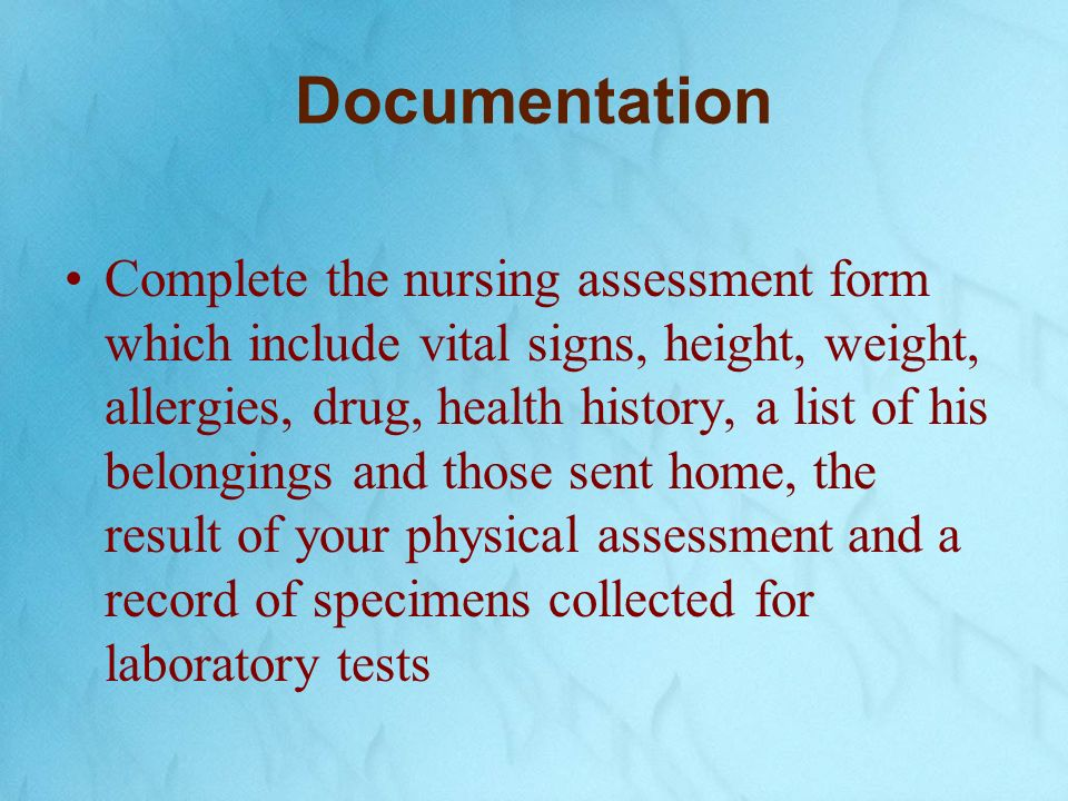 Admission Nursing Assessment  A Comprehensive Admission