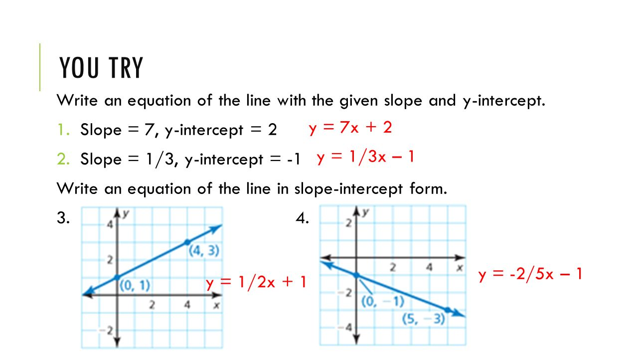 Lesson 41 writing equations in slope intercept form learning goal you try write an equation of the line with the given slope and y intercept falaconquin