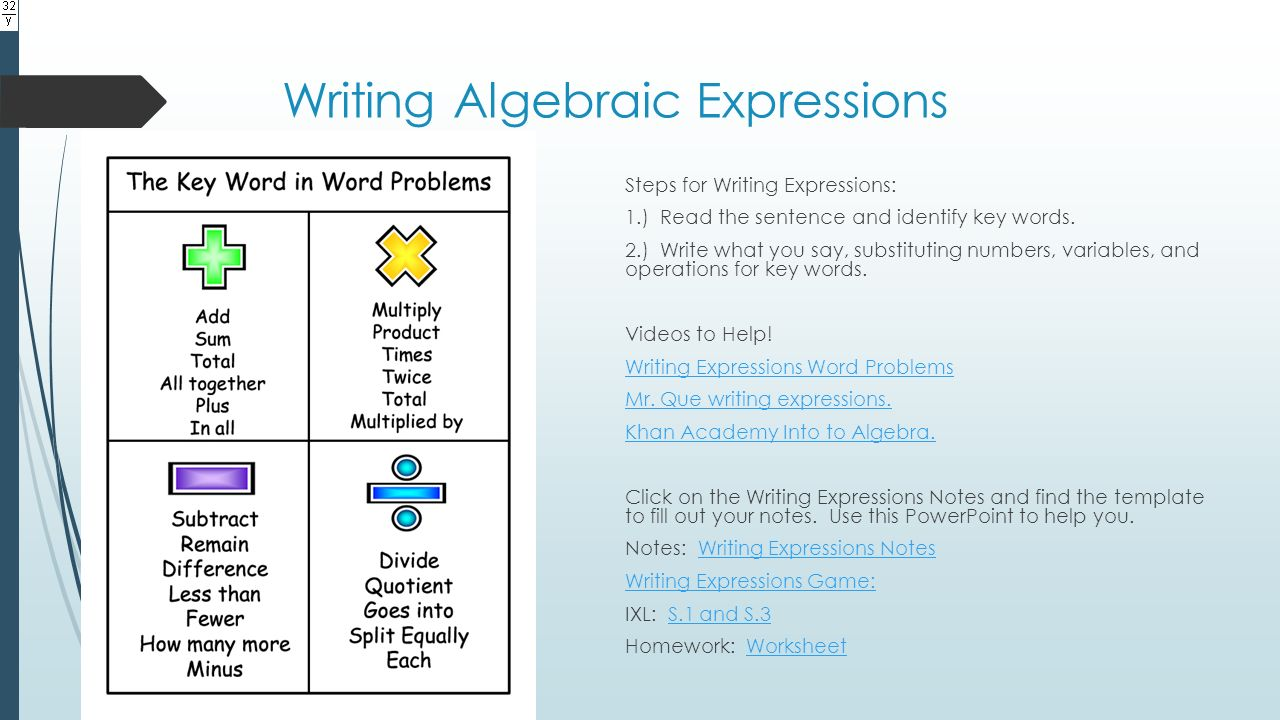 worksheet Pre Algebra Expressions unit 2 pre algebra expressions equations and inequalities ppt writing algebraic steps for 1 read the sentence identify