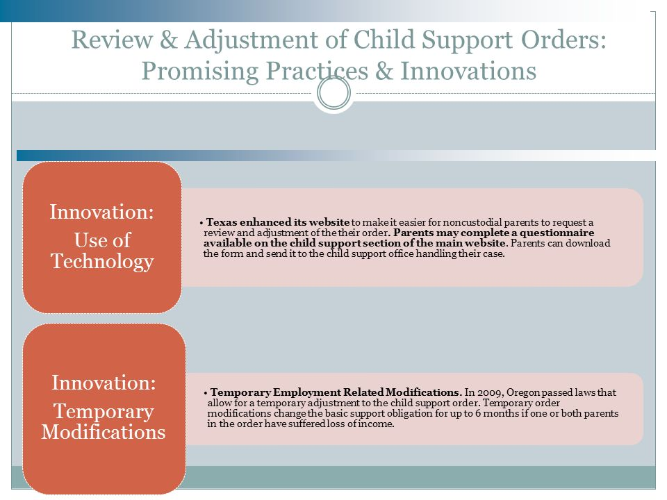 AN OVERVIEW OF THE CHILD SUPPORT SYSTEM & INNOVATIONS IN CHILD ...