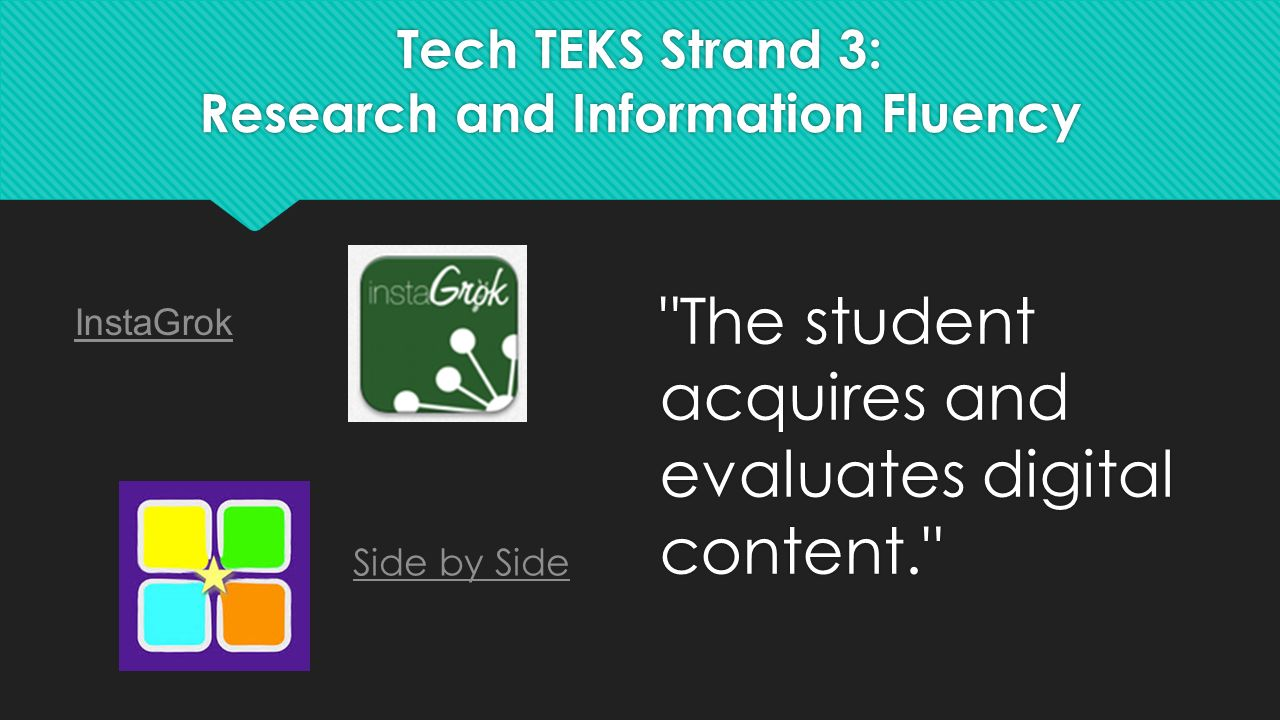 Tech TEKS Strand 3: Research and Information Fluency The student acquires and evaluates digital content. InstaGrok Side by Side