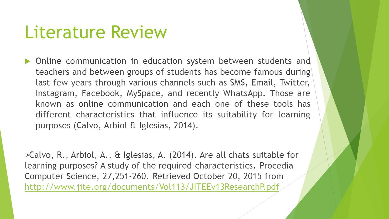 literature review online learning Education, 2) a brief literature review of online learning research and studies, and 3) a summary of research on the effectiveness of k-12 online learning 7.