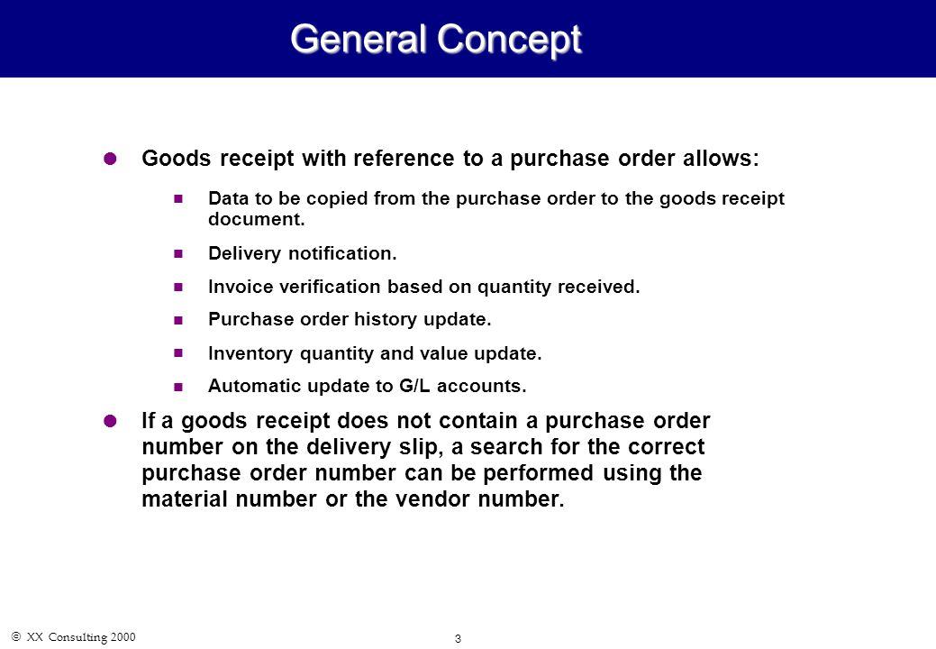 Xx Consulting Mm04 - Goods Receipt & Invoice Verification November