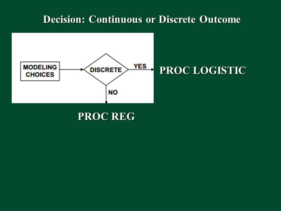Decision: Continuous or Discrete Outcome PROC LOGISTIC PROC REG