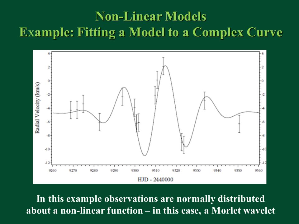Non-Linear Models Eample: Fitting a Model to a Complex Curve Example: Fitting a Model to a Complex Curve In this example observations are normally distributed about a non-linear function – in this case, a Morlet wavelet