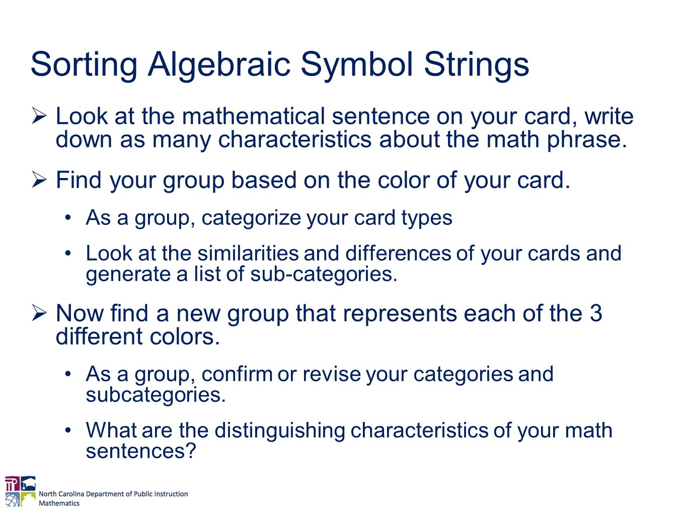 Coherence in secondary math expressions and equations the sorting algebraic symbol strings look at the mathematical sentence on your card write down buycottarizona