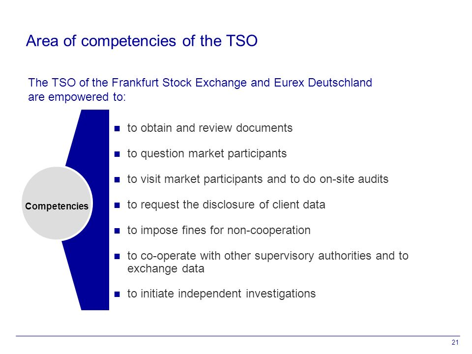 21 Area of competencies of the TSO Competencies to obtain and review documents to question market participants to visit market participants and to do on-site audits to request the disclosure of client data to impose fines for non-cooperation to co-operate with other supervisory authorities and to exchange data to initiate independent investigations The TSO of the Frankfurt Stock Exchange and Eurex Deutschland are empowered to: