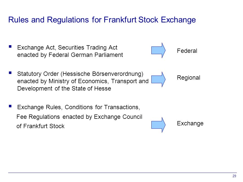 29 Rules and Regulations for Frankfurt Stock Exchange  Exchange Act, Securities Trading Act enacted by Federal German Parliament  Statutory Order (Hessische Börsenverordnung) enacted by Ministry of Economics, Transport and Development of the State of Hesse  Exchange Rules, Conditions for Transactions, Fee Regulations enacted by Exchange Council of Frankfurt Stock Federal Regional Exchange