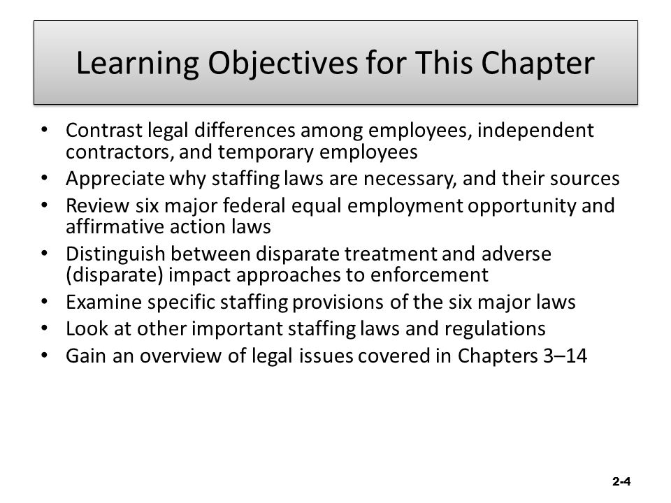 Week Two The Nature Of Staffing Chapter 2: Legal Compliance
