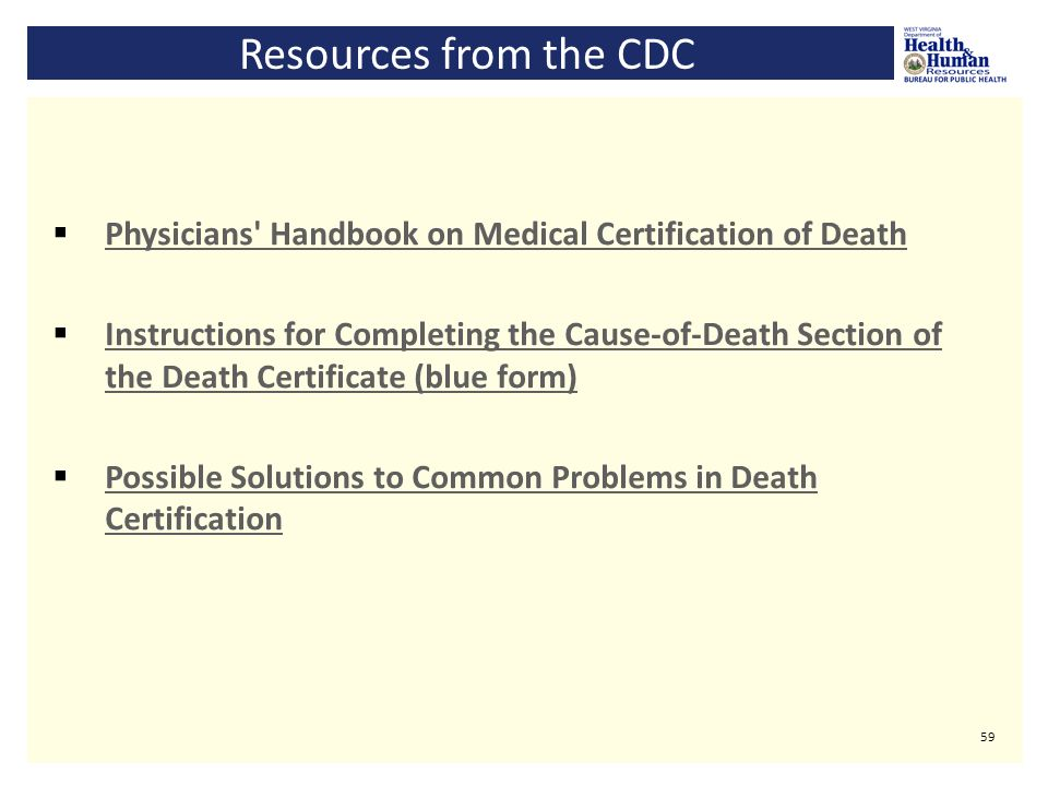 Medical Certification Of Cause Of Death For Natural Deaths With An