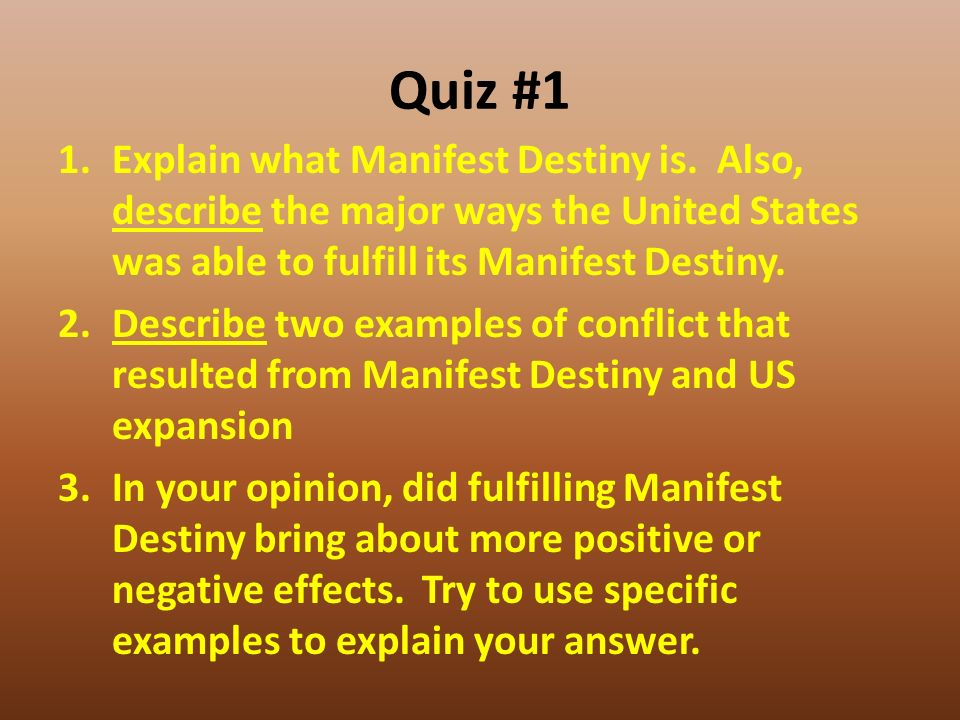essays on manifest destiny Our country felt it was its manifest destiny to expand westward while there are different opinions on why that is – whether it be that we are superior or.
